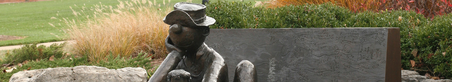 Beetle Bailey statue in front of the University of Missouri Alumni Center.